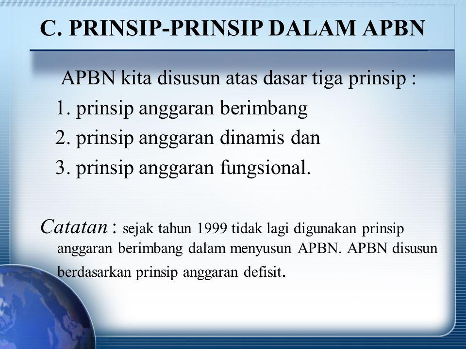 C. PRINSIP-PRINSIP DALAM APBN APBN kita disusun atas dasar tiga prinsip : 1. prinsip anggaran berimbang 2. prinsip anggaran dinamis dan 3. prinsip ang