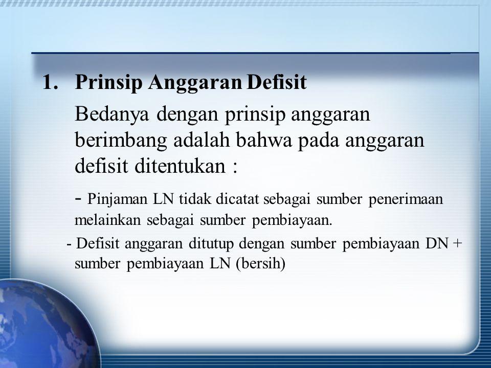 1.Prinsip Anggaran Defisit Bedanya dengan prinsip anggaran berimbang adalah bahwa pada anggaran defisit ditentukan : - Pinjaman LN tidak dicatat sebag