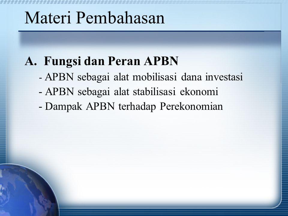Materi Pembahasan A.Fungsi dan Peran APBN - APBN sebagai alat mobilisasi dana investasi - APBN sebagai alat stabilisasi ekonomi - Dampak APBN terhadap
