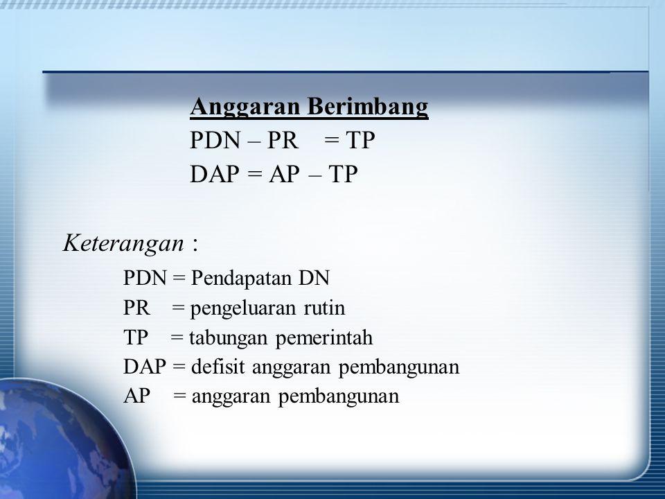 Anggaran Berimbang PDN – PR = TP DAP = AP – TP Keterangan : PDN = Pendapatan DN PR = pengeluaran rutin TP = tabungan pemerintah DAP = defisit anggaran