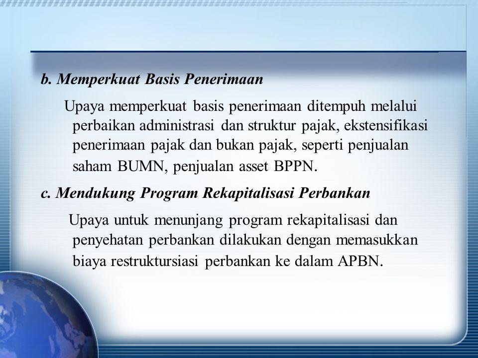 b. Memperkuat Basis Penerimaan Upaya memperkuat basis penerimaan ditempuh melalui perbaikan administrasi dan struktur pajak, ekstensifikasi penerimaan