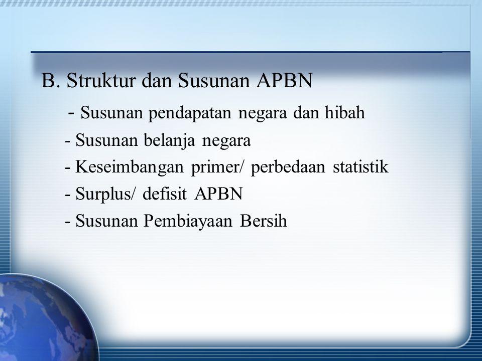 B. Struktur dan Susunan APBN - Susunan pendapatan negara dan hibah - Susunan belanja negara - Keseimbangan primer/ perbedaan statistik - Surplus/ defi
