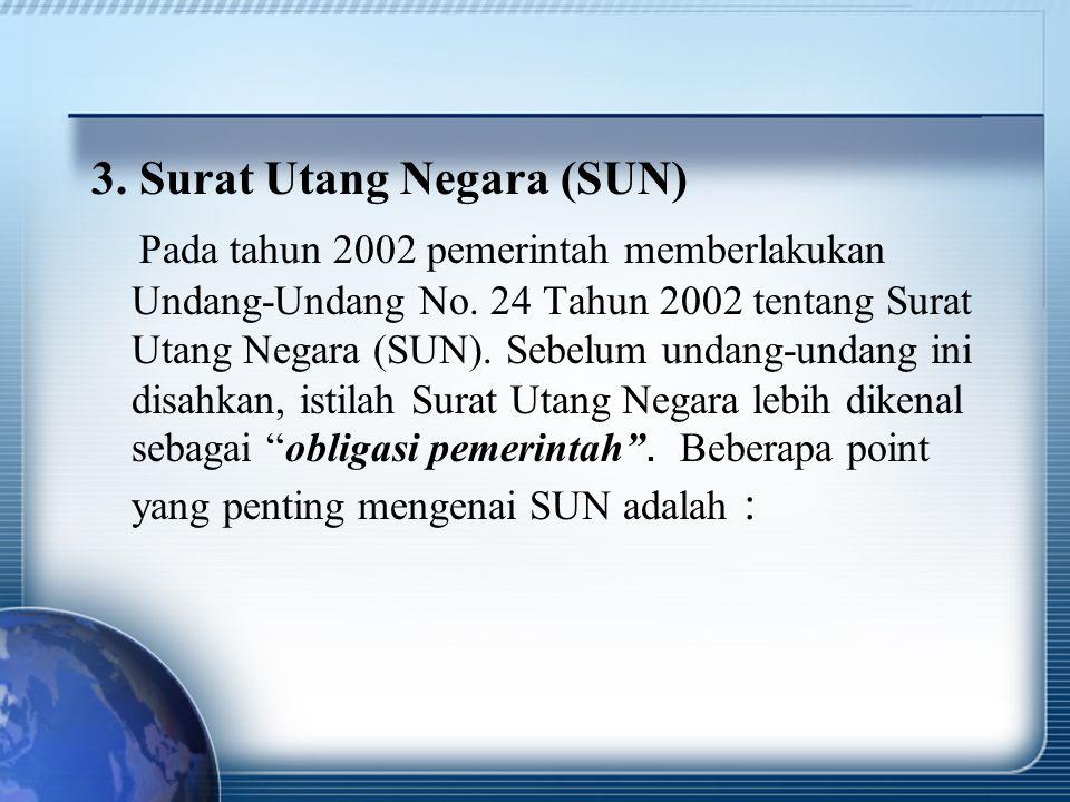3. Surat Utang Negara (SUN) Pada tahun 2002 pemerintah memberlakukan Undang-Undang No. 24 Tahun 2002 tentang Surat Utang Negara (SUN). Sebelum undang-