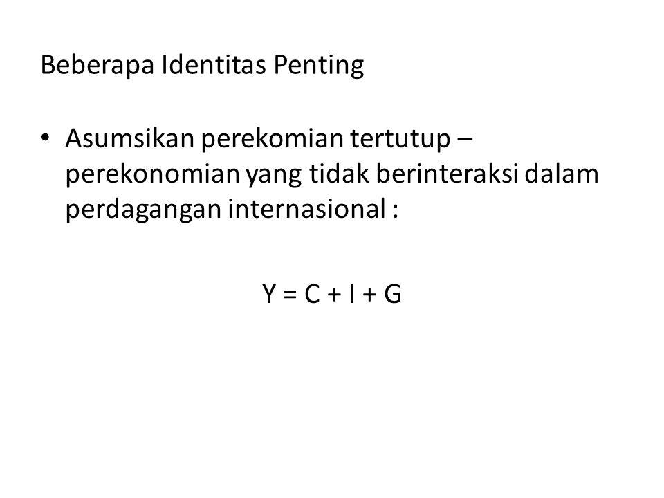 Beberapa Identitas Penting Asumsikan perekomian tertutup – perekonomian yang tidak berinteraksi dalam perdagangan internasional : Y = C + I + G