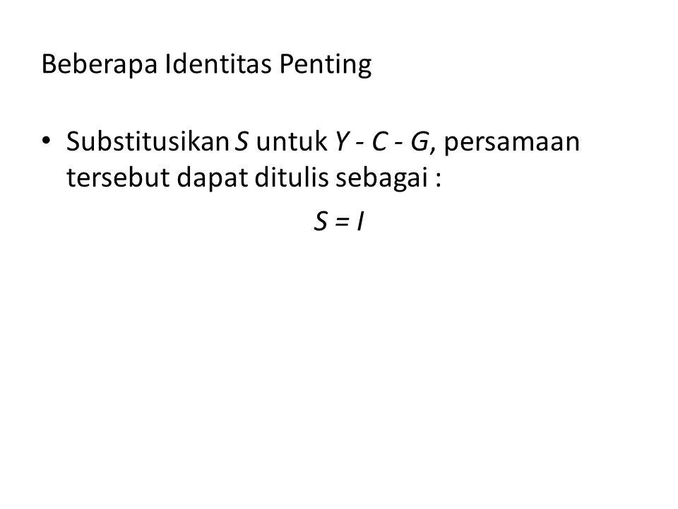 Beberapa Identitas Penting Substitusikan S untuk Y - C - G, persamaan tersebut dapat ditulis sebagai : S = I