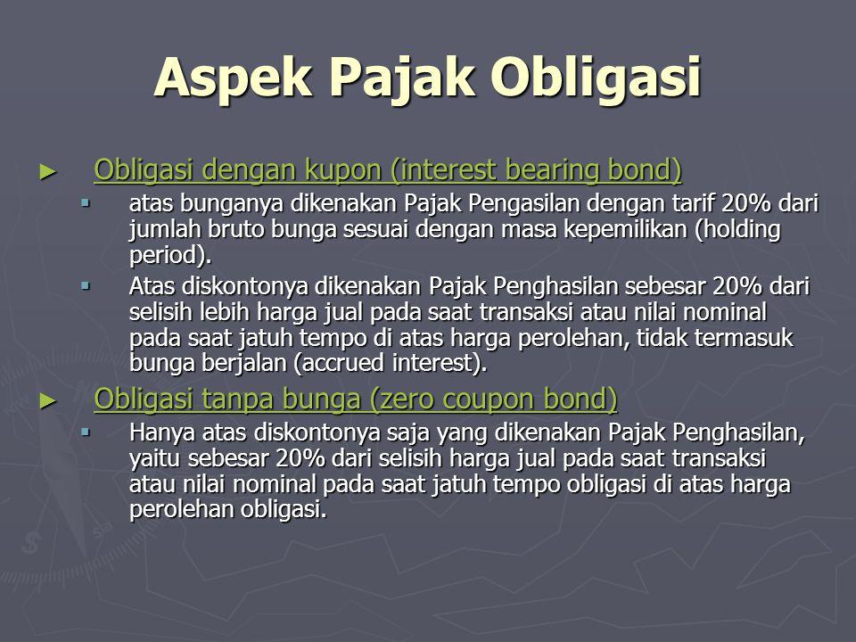 Aspek Pajak Obligasi ► Obligasi dengan kupon (interest bearing bond) Obligasi dengan kupon (interest bearing bond) Obligasi dengan kupon (interest bea