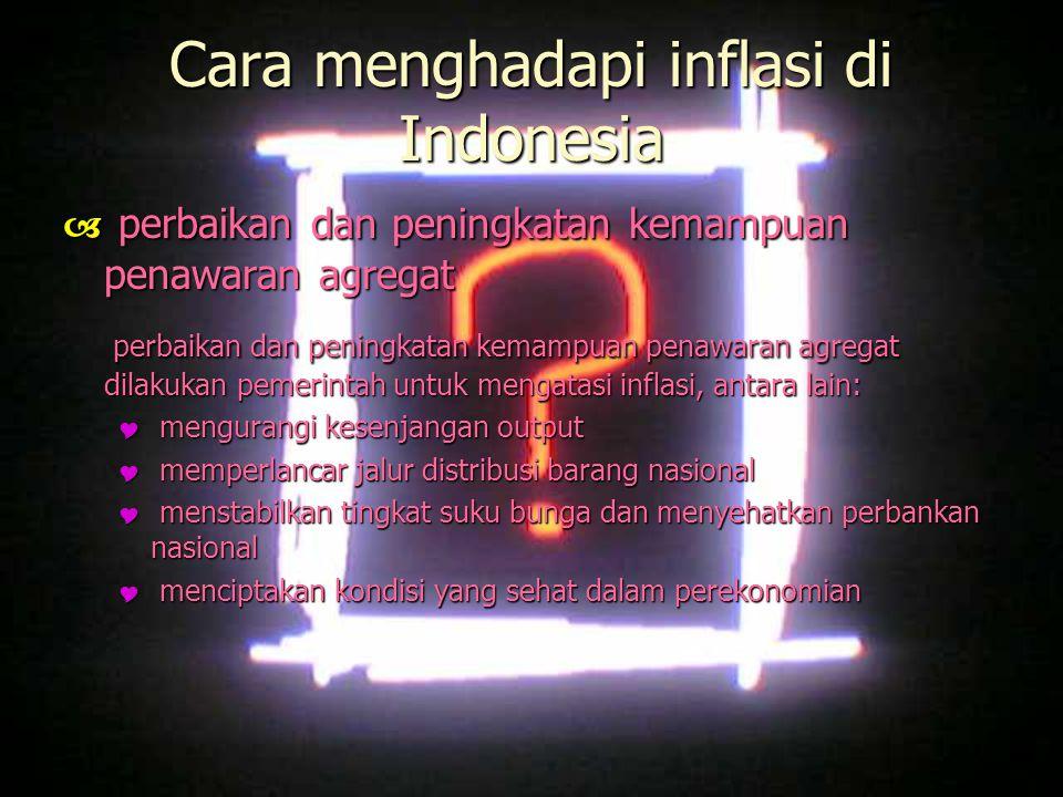 Cara menghadapi inflasi di Indonesia  perbaikan dan peningkatan kemampuan penawaran agregat perbaikan dan peningkatan kemampuan penawaran agregat dil