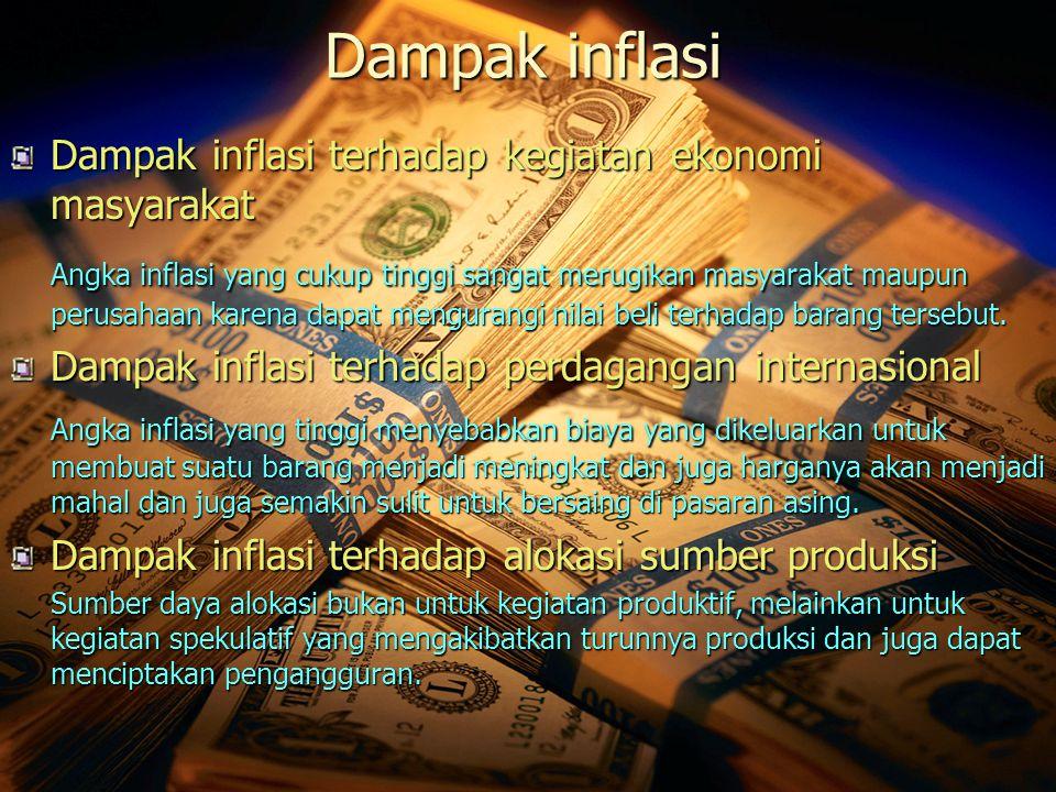 Dampak inflasi Dampak inflasi terhadap kegiatan ekonomi masyarakat Angka inflasi yang cukup tinggi sangat merugikan masyarakat maupun perusahaan karen