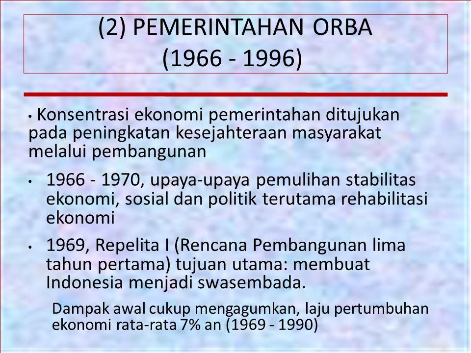 (2) PEMERINTAHAN ORBA (1966 - 1996) Konsentrasi ekonomi pemerintahan ditujukan pada peningkatan kesejahteraan masyarakat melalui pembangunan 1966 - 19