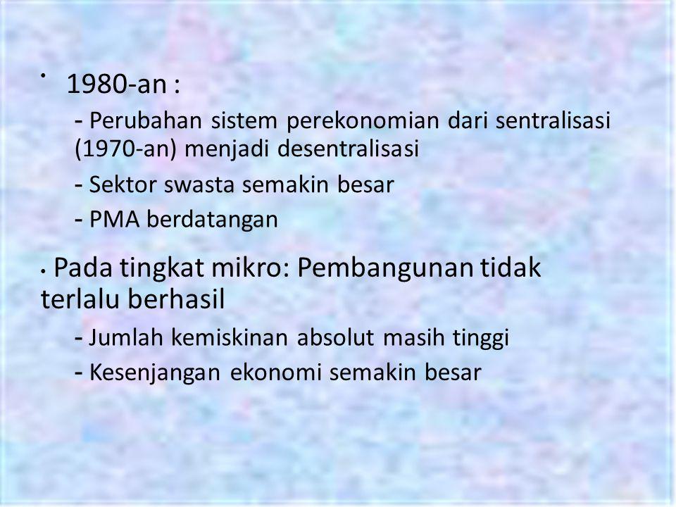1980-an : - Perubahan sistem perekonomian dari sentralisasi (1970-an) menjadi desentralisasi - Sektor swasta semakin besar - PMA berdatangan Pada ting