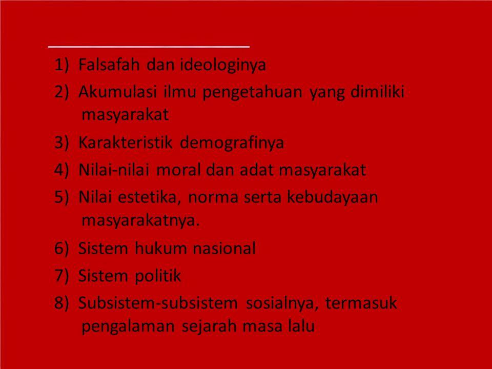 1) Falsafah dan ideologinya 2) Akumulasi ilmu pengetahuan yang dimiliki masyarakat 3) Karakteristik demografinya 4) Nilai-nilai moral dan adat masyara