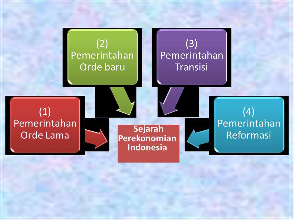 (2) Pemerintahan Orde baru (1) Pemerintahan Orde Lama (3) Pemerintahan Transisi (4) Pemerintahan Reformasi Sejarah Perekonomian Indonesia