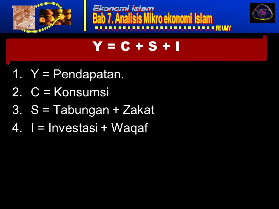 Ekonomi Islam1 1.Y = Pendapatan.