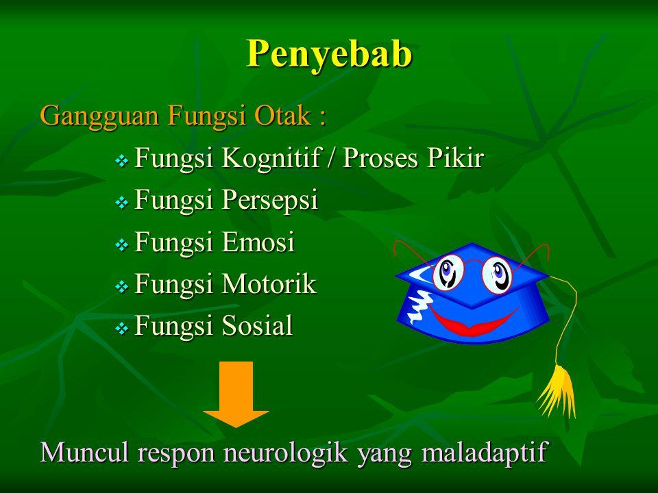 Penyebab Gangguan Fungsi Otak :  Fungsi Kognitif / Proses Pikir  Fungsi Persepsi  Fungsi Emosi  Fungsi Motorik  Fungsi Sosial Muncul respon neurologik yang maladaptif