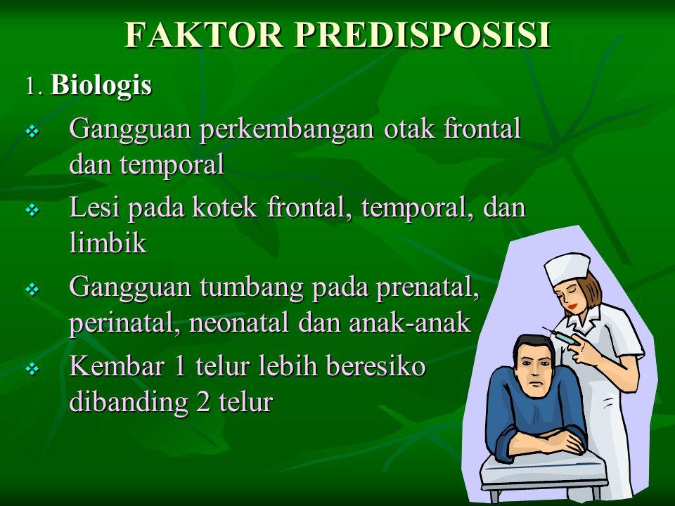 FAKTOR PREDISPOSISI 1. Biologis  Gangguan perkembangan otak frontal dan temporal  Lesi pada kotek frontal, temporal, dan limbik  Gangguan tumbang p