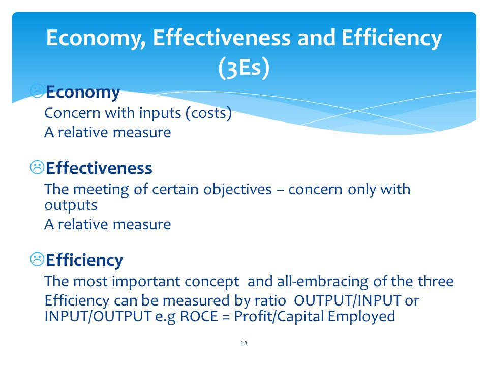  Economy Concern with inputs (costs) A relative measure  Effectiveness The meeting of certain objectives – concern only with outputs A relative measure  Efficiency The most important concept and all-embracing of the three Efficiency can be measured by ratio OUTPUT/INPUT or INPUT/OUTPUT e.g ROCE = Profit/Capital Employed 13 Economy, Effectiveness and Efficiency (3Es)
