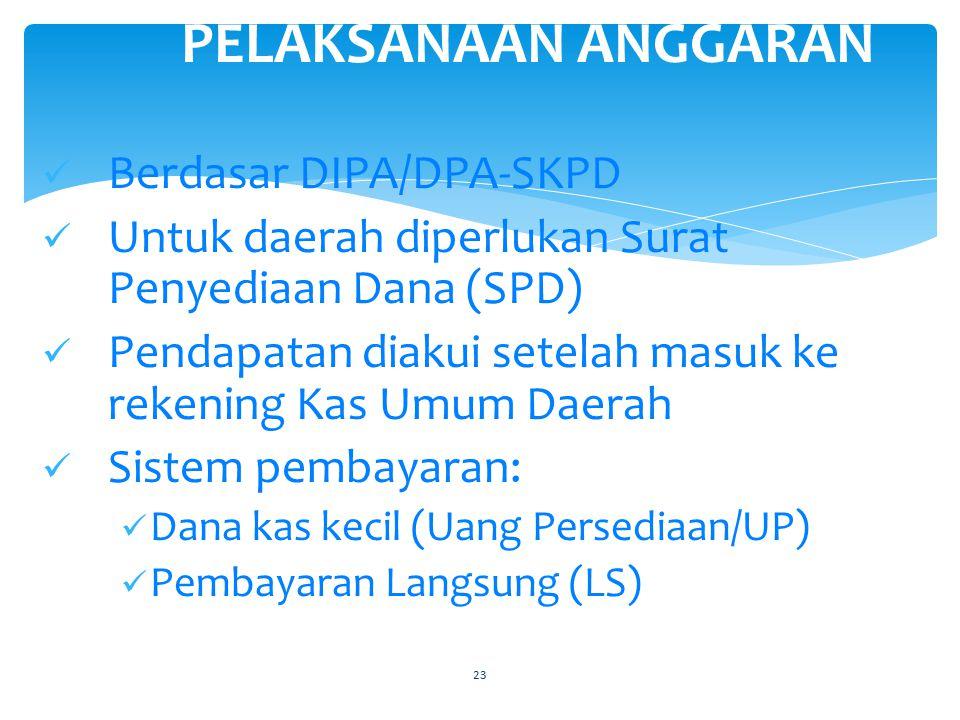 23 PELAKSANAAN ANGGARAN Berdasar DIPA/DPA-SKPD Untuk daerah diperlukan Surat Penyediaan Dana (SPD) Pendapatan diakui setelah masuk ke rekening Kas Umum Daerah Sistem pembayaran: Dana kas kecil (Uang Persediaan/UP) Pembayaran Langsung (LS)