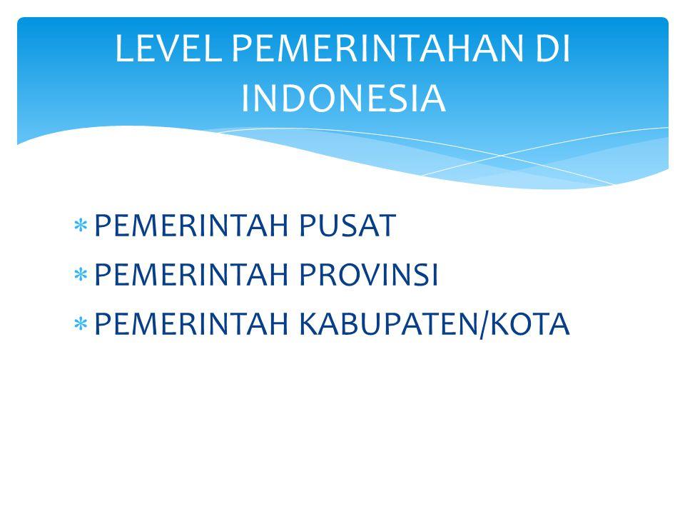  PEMERINTAH PUSAT  PEMERINTAH PROVINSI  PEMERINTAH KABUPATEN/KOTA LEVEL PEMERINTAHAN DI INDONESIA