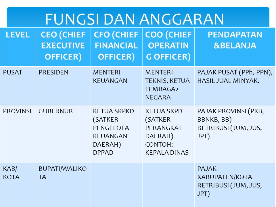 LEVELCEO (CHIEF EXECUTIVE OFFICER) CFO (CHIEF FINANCIAL OFFICER) COO (CHIEF OPERATIN G OFFICER) PENDAPATAN &BELANJA PUSATPRESIDENMENTERI KEUANGAN MENT