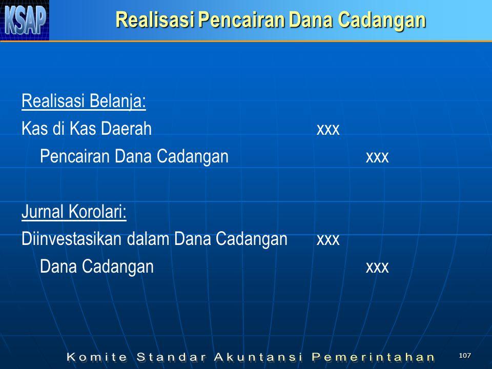 106 Realisasi Pembentukan Dana Cadangan Jurnal Realisasi Anggaran: Pembentukan Dana Cadangan xxx Kas di Kas Daerahxxx Jurnal Korolari: Dana Cadangan xxx Diinvestasikan dalam Dana Cadangan xxx