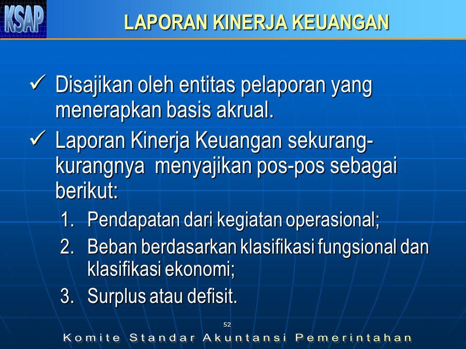51 LAPORAN ARUS KAS Menyajikan informasi mengenai sumber, penggunaan, perubahan kas dan setara kas pada tanggal pelaporan.