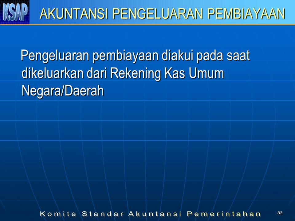 81 AKUNTANSI PENERIMAAN PEMBIAYAAN Penerimaan pembiayaan diakui pada saat diterima pada Rekening Kas Umum Negara/Daerah Penerimaan pembiayaan diakui p