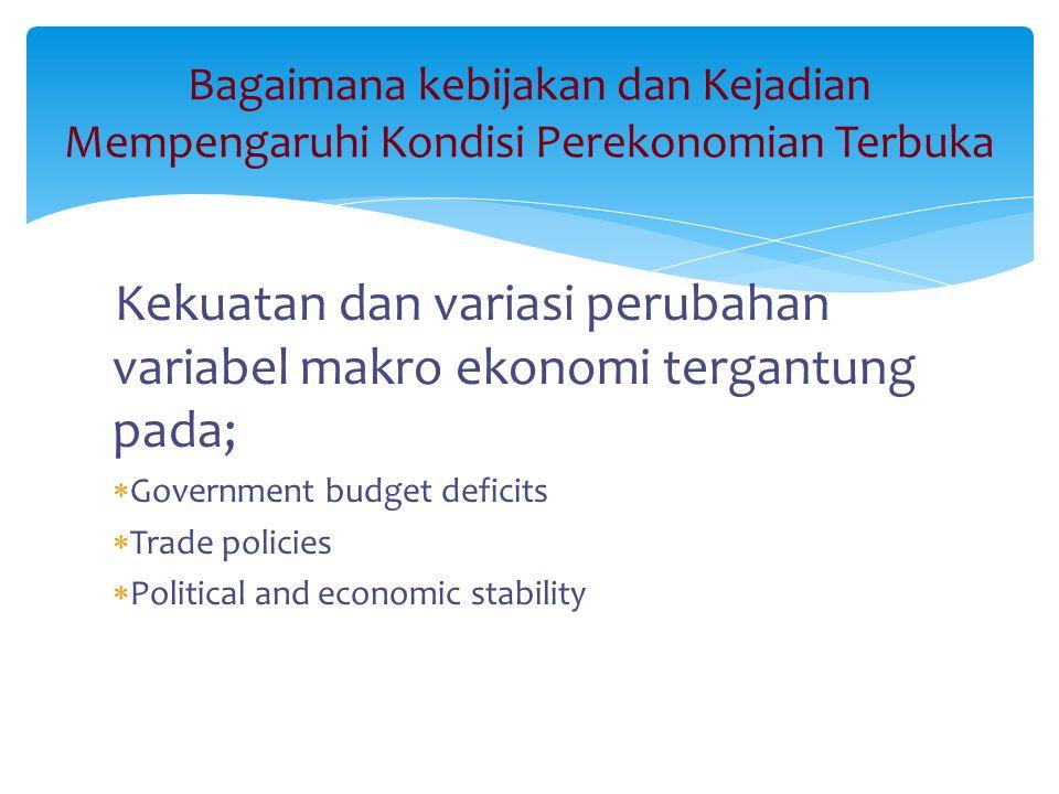 Bagaimana kebijakan dan Kejadian Mempengaruhi Kondisi Perekonomian Terbuka Kekuatan dan variasi perubahan variabel makro ekonomi tergantung pada;  Go