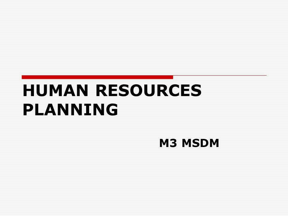 HUMAN RESOURCES PLANNING M3 MSDM