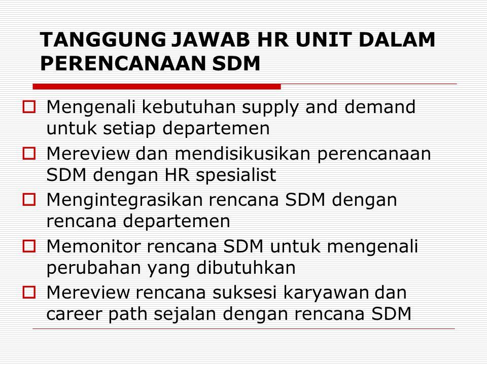 TANGGUNG JAWAB HR UNIT DALAM PERENCANAAN SDM  Mengenali kebutuhan supply and demand untuk setiap departemen  Mereview dan mendisikusikan perencanaan