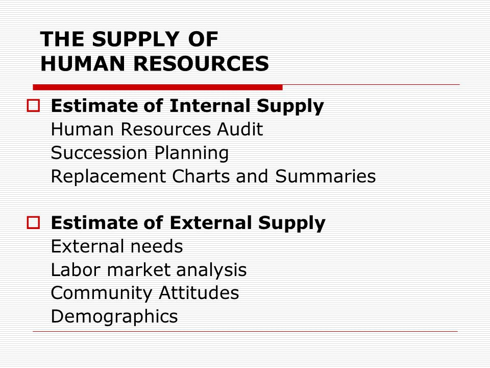 THE SUPPLY OF HUMAN RESOURCES  Estimate of Internal Supply Human Resources Audit Succession Planning Replacement Charts and Summaries  Estimate of E