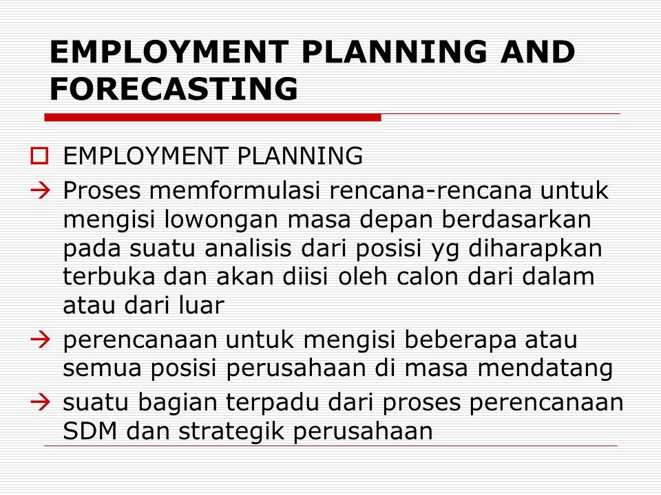 EMPLOYMENT PLANNING AND FORECASTING  EMPLOYMENT PLANNING  Proses memformulasi rencana-rencana untuk mengisi lowongan masa depan berdasarkan pada sua