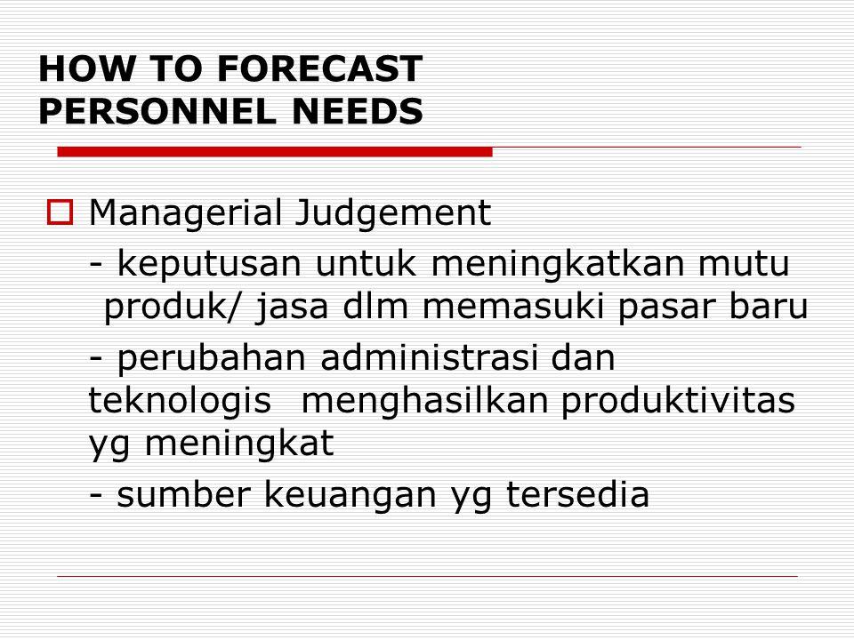 HOW TO FORECAST PERSONNEL NEEDS  Managerial Judgement - keputusan untuk meningkatkan mutu produk/ jasa dlm memasuki pasar baru - perubahan administrasi dan teknologis menghasilkan produktivitas yg meningkat - sumber keuangan yg tersedia