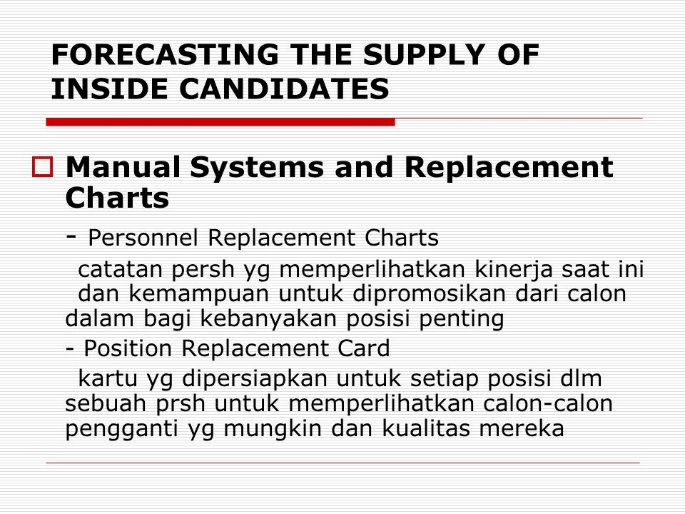 FORECASTING THE SUPPLY OF INSIDE CANDIDATES  Manual Systems and Replacement Charts - Personnel Replacement Charts catatan persh yg memperlihatkan kin