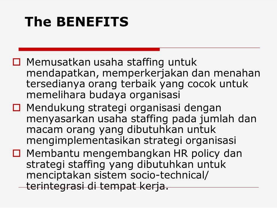 The BENEFITS  Memusatkan usaha staffing untuk mendapatkan, memperkerjakan dan menahan tersedianya orang terbaik yang cocok untuk memelihara budaya or