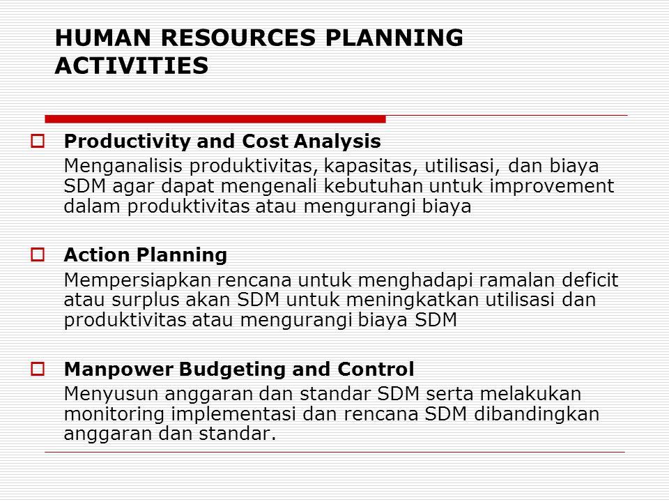 HUMAN RESOURCES PLANNING ACTIVITIES  Productivity and Cost Analysis Menganalisis produktivitas, kapasitas, utilisasi, dan biaya SDM agar dapat mengen
