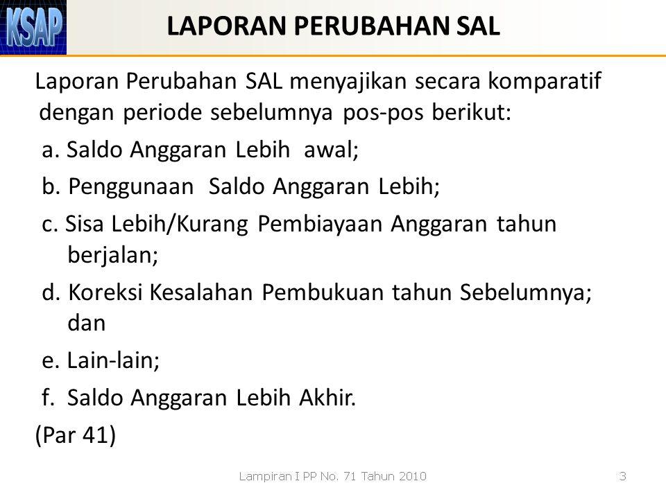 LAPORAN PERUBAHAN SAL Laporan Perubahan SAL menyajikan secara komparatif dengan periode sebelumnya pos-pos berikut: a. Saldo Anggaran Lebih awal; b. P