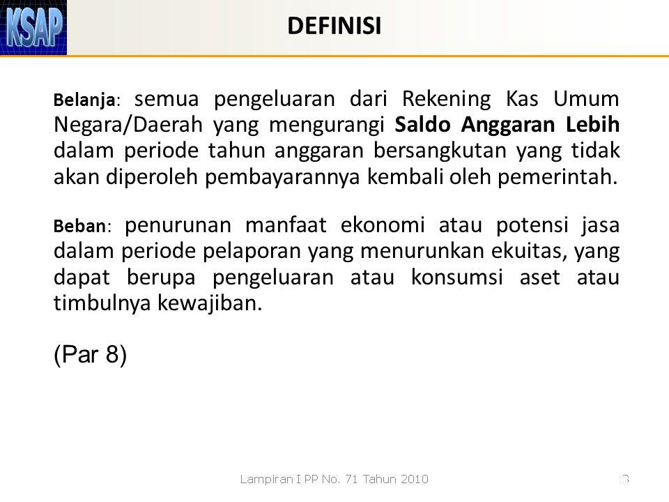 Belanja: semua pengeluaran dari Rekening Kas Umum Negara/Daerah yang mengurangi Saldo Anggaran Lebih dalam periode tahun anggaran bersangkutan yang ti