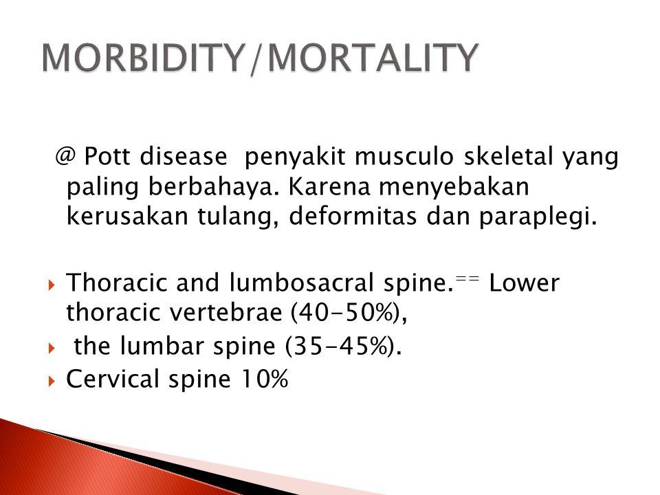 @ Pott disease penyakit musculo skeletal yang paling berbahaya. Karena menyebakan kerusakan tulang, deformitas dan paraplegi.  Thoracic and lumbosacr