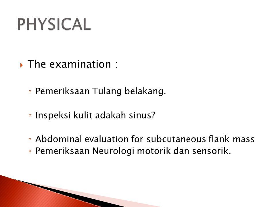  The examination : ◦ Pemeriksaan Tulang belakang. ◦ Inspeksi kulit adakah sinus? ◦ Abdominal evaluation for subcutaneous flank mass ◦ Pemeriksaan Neu