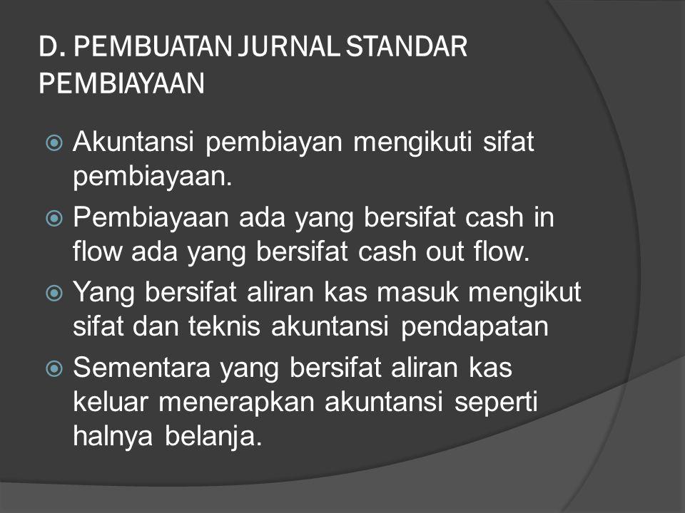 D. PEMBUATAN JURNAL STANDAR PEMBIAYAAN  Akuntansi pembiayan mengikuti sifat pembiayaan.  Pembiayaan ada yang bersifat cash in flow ada yang bersifat