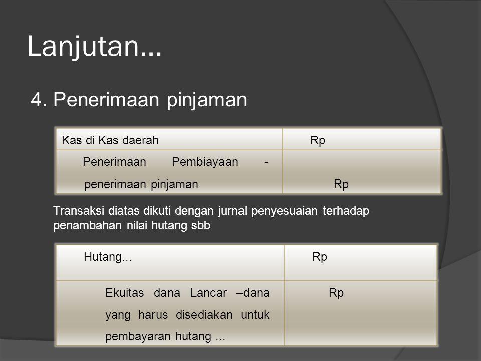 Lanjutan… 4. Penerimaan pinjaman Kas di Kas daerahRp Penerimaan Pembiayaan - penerimaan pinjaman Rp Transaksi diatas dikuti dengan jurnal penyesuaian