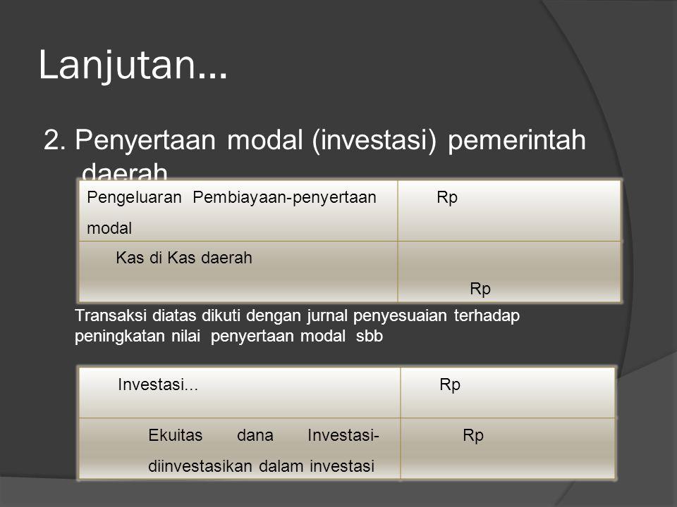Lanjutan… 2. Penyertaan modal (investasi) pemerintah daerah Pengeluaran Pembiayaan-penyertaan modal Rp Kas di Kas daerah Rp Transaksi diatas dikuti de