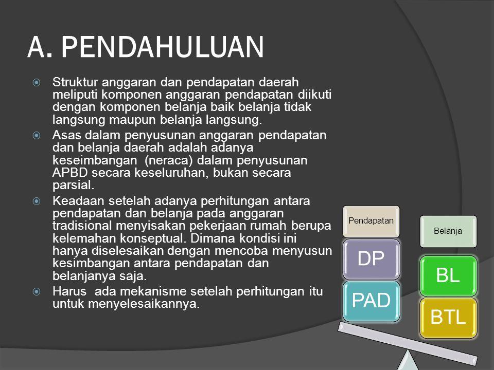 A. PENDAHULUAN  Struktur anggaran dan pendapatan daerah meliputi komponen anggaran pendapatan diikuti dengan komponen belanja baik belanja tidak lang