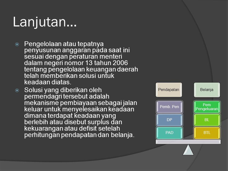 Lanjutan…  Pengelolaan atau tepatnya penyusunan anggaran pada saat ini sesuai dengan peraturan menteri dalam negeri nomor 13 tahun 2006 tentang penge