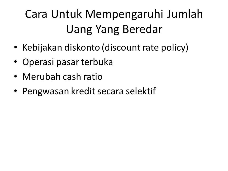 Cara Untuk Mempengaruhi Jumlah Uang Yang Beredar Kebijakan diskonto (discount rate policy) Operasi pasar terbuka Merubah cash ratio Pengwasan kredit s