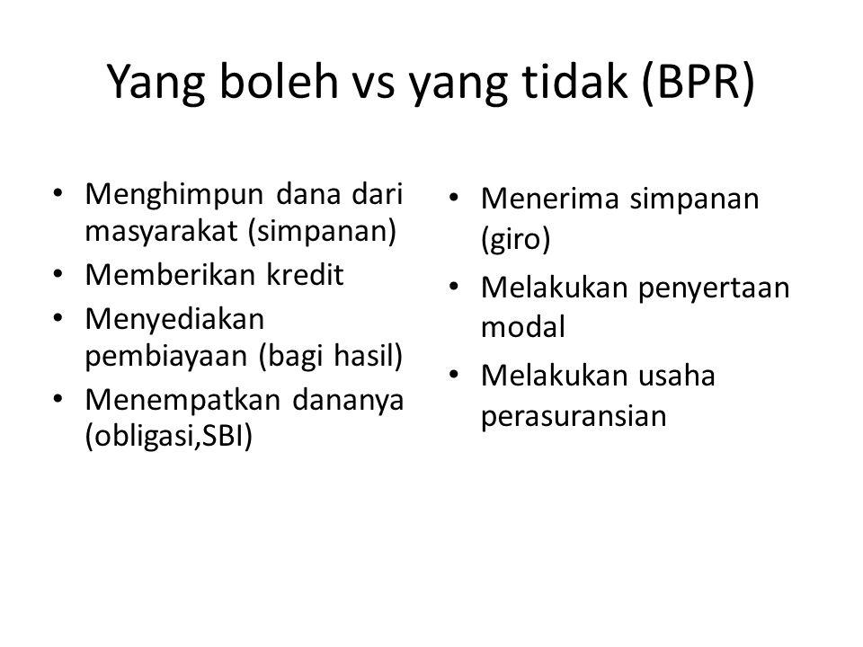 Yang boleh vs yang tidak (BPR) Menghimpun dana dari masyarakat (simpanan) Memberikan kredit Menyediakan pembiayaan (bagi hasil) Menempatkan dananya (o