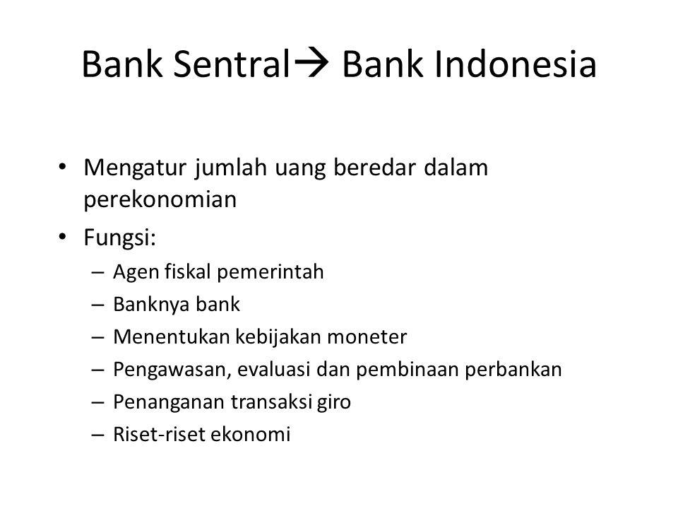 Bank Sentral  Bank Indonesia Mengatur jumlah uang beredar dalam perekonomian Fungsi: – Agen fiskal pemerintah – Banknya bank – Menentukan kebijakan m