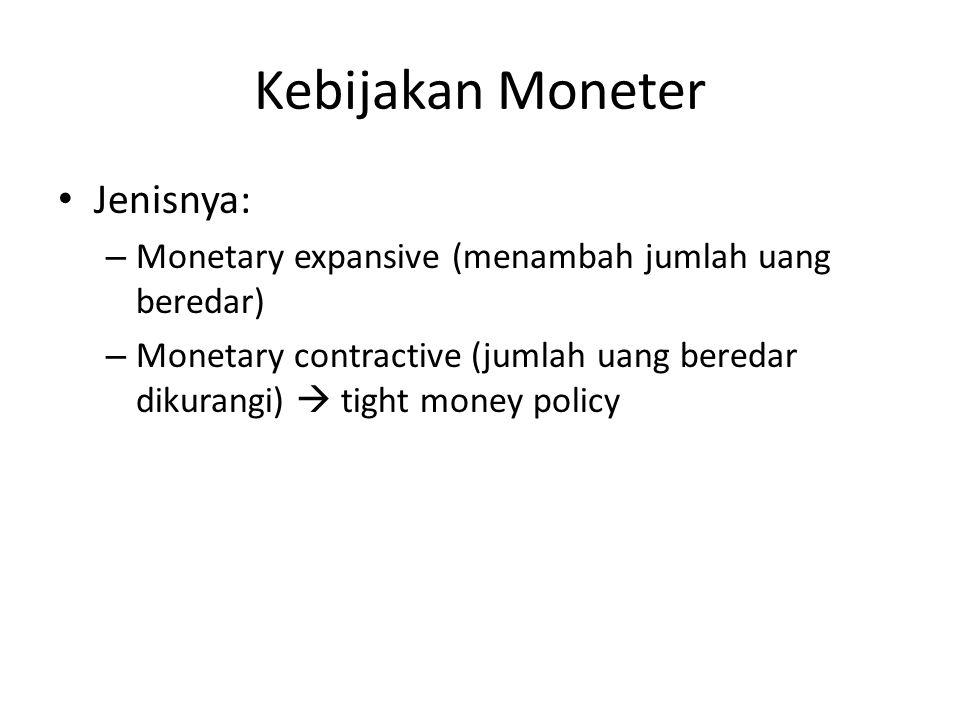 Kebijakan Moneter Jenisnya: – Monetary expansive (menambah jumlah uang beredar) – Monetary contractive (jumlah uang beredar dikurangi)  tight money p