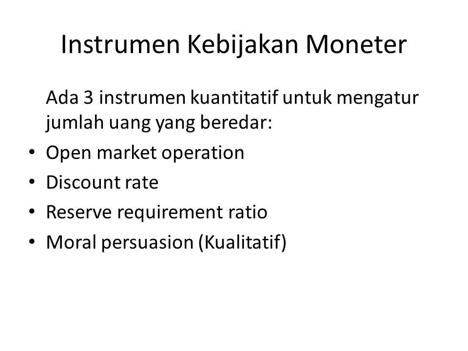 Instrumen Kebijakan Moneter Ada 3 instrumen kuantitatif untuk mengatur jumlah uang yang beredar: Open market operation Discount rate Reserve requireme