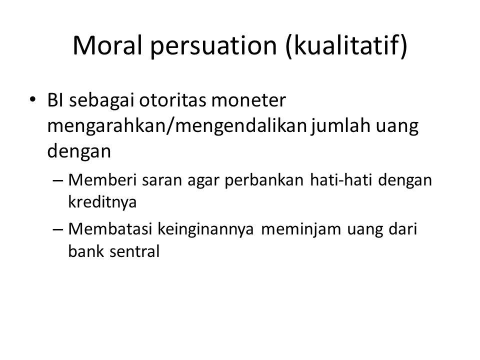 Moral persuation (kualitatif) BI sebagai otoritas moneter mengarahkan/mengendalikan jumlah uang dengan – Memberi saran agar perbankan hati-hati dengan